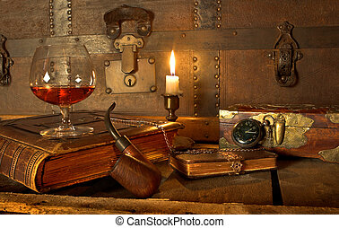 Good life - A good old book, a glass of cognac and my pipe