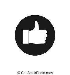 Good, like, thumbs up icon Vector illustration flat