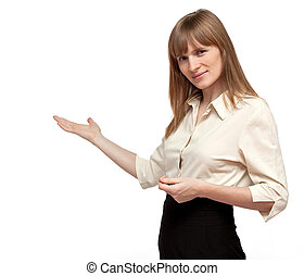 Good looking business woman is pointing on isolated...
