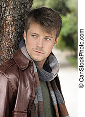 Good looking casual guy - Young handsome man in autumn...