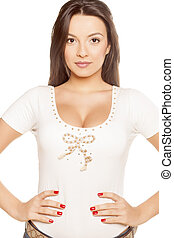 girl in a white T-shirt