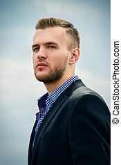 good looking man - Portrait of a handsome elegant man in a...
