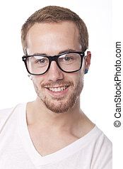 Good Looking Man With Retro Nerd Glasses Smiling - Good...