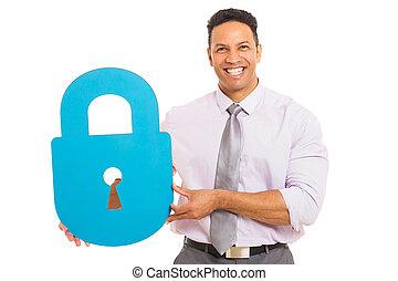 middle aged man presenting padlock