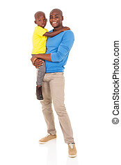 young african man carrying his son
