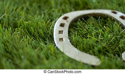 old horseshoe on artificial grass - good luck and fortune...