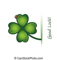 good luck clover leaf with ladybug on white background