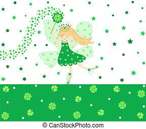 Good luck fairy - Cute green good luck fairy