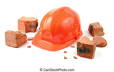 Good Luck - Helmet and pieces of broken brick isolated over...