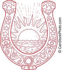 Good Luck Horseshoe Sun Sea Drawing