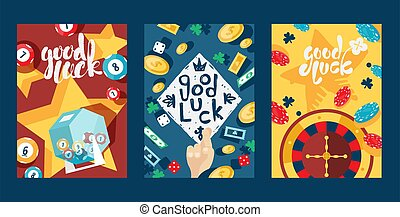 Good luck in gambling, typography banners, vector illustration. Set of cards with casino symbol, game icon. Jackpot, lottery, bingo, poker and roulette. Casino advertisement