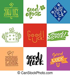 Good luck vector lettering set.