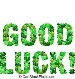 Good Luck! - Vector message of well wishes in green balloons
