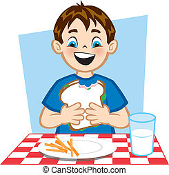 Illustration of a young boy eating a healthy lunch