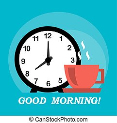 good morning and coffee - good morning wish, alarm clock and...
