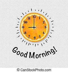 Good Morning Banner With Orange Transparent Background