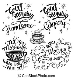 Good morning brush calligraphy set