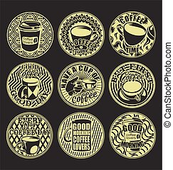 Good morning coffee lovers vintage retro labels white and black set