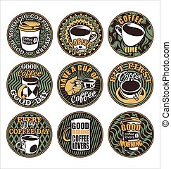 Good morning coffee lovers vintage retro labels.eps