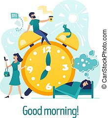 Good morning. Creative concept with characters