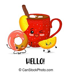 Good morning. Cup of tea and biscuit roll. Cute cartoon kawaii characters on white background..