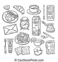 Good morning doodle. Healthy breakfast, happy mood of summer day. Sketch drawing vector set