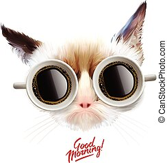 Good morning. Funny cat with cups of coffee glasses, vector...