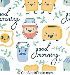 Good morning. Funny characters breakfast