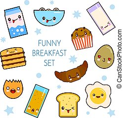 Good morning. Funny characters breakfast vector collection toasts bread, milk, fried egg. Set of cute food and drink icons in kawaii style with smiling face