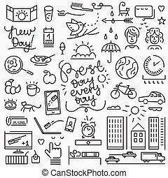 Good morning icons - Good morning - set thin line icons ,...