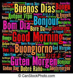 Good morning in different languages word cloud