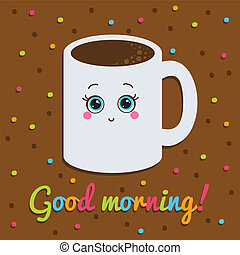 Card. Smiling with a cup of coffee. Background with dots.