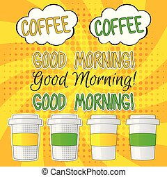Good morning lettering vector set illlustration with coffee, pop art style on bright yellow background
