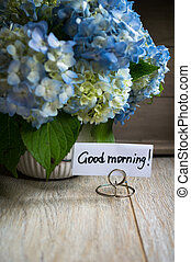 Good morning note and flowers