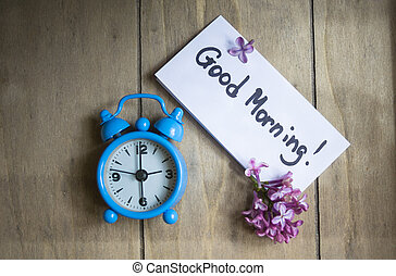 Good morning note and old-styled clock