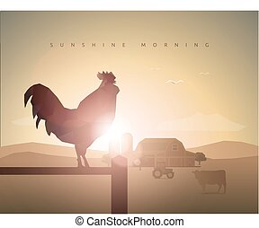 good morning rooster - farm with rooster, sunset, sunrise, ...