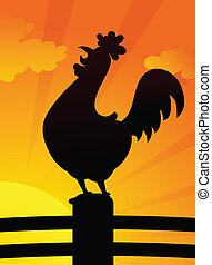 Silhouette of rooster standing on the farm fence vector illustration.