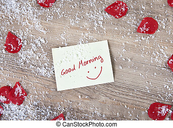 Snowy Good Morning Text In Snowflake Frame Illustration