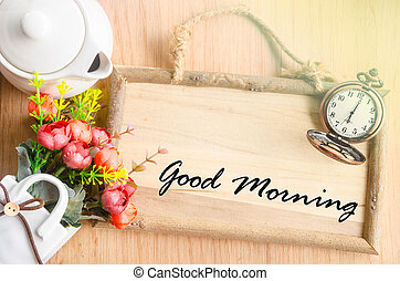 Good morning text in blank wooden photo frame