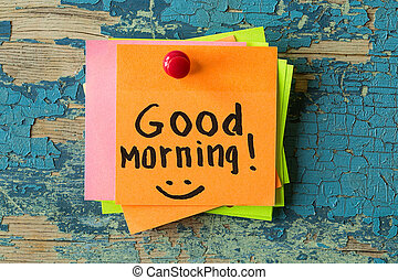 GOOD MORNING  text written on sticky note