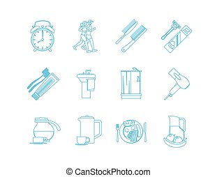 Good Morning Time Line Art Icons