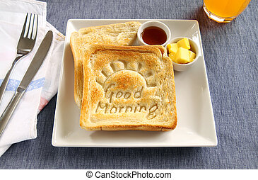 Good Morning Toast - Slice of toast with Good Morning carved...