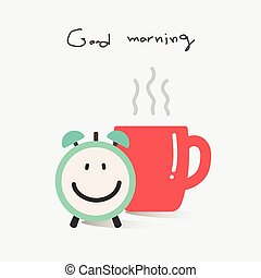Good Morning With Coffee And Alarm Clock.