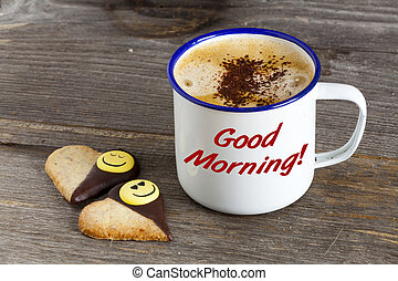 Good Morning with Coffee and Smiley Cookies
