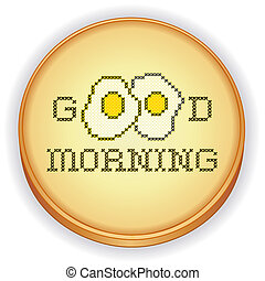 Good Morning with Eggs Embroidery - Good Morning with two...