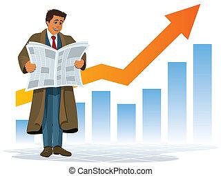 Good news - A businessman reading a newspaper with good news