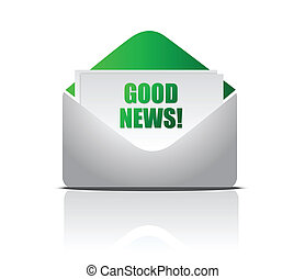 Good News and envelope, concept of success