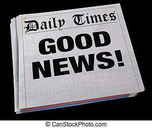 Good News Announcement Spinning Newspaper Headline 3d Illustration
