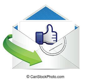 good news mail, thumb up illustration design over a white ...