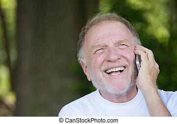 Good news on phone - Closeup portrait, older, happy ecstatic...